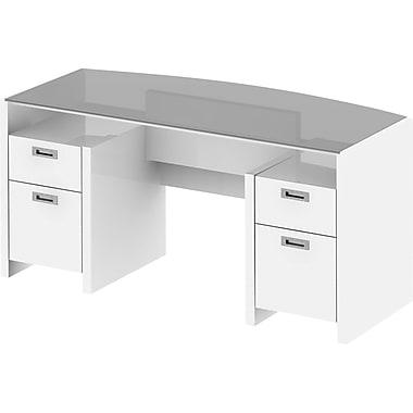 kathy ireland® Office by Bush Furniture New York Skyline 63W Bow Front Double Pedestal Desk, Plumeria White (KI10202-03K)