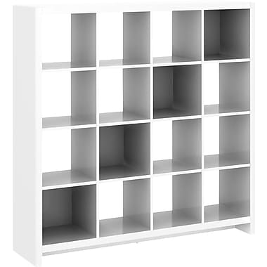 kathy ireland New York Skyline by Bush Furniture 16-Cube Room Divider, Plumeria White