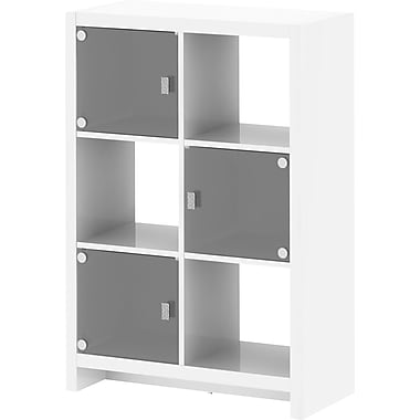 kathy ireland New York Skyline by Bush Furniture 6-Cube Bookcase, Plumeria White