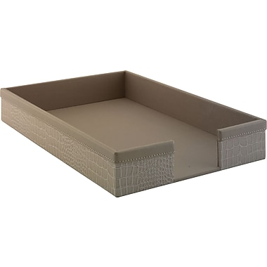 kathy ireland by Bush Letter Tray, Croc-Beige Leather