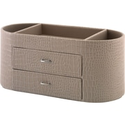 kathy ireland® by Bush® Desktop Organizer, Croc-Beige Leather