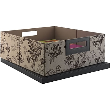 kathy ireland by Bush Media Bin, Floral Print Neutral/Chocolate