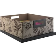kathy ireland® by Bush® Media Bin, Floral Print Neutral/Chocolate