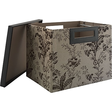kathy ireland by Bush Large Bin/File, Floral Print Neutral/Chocolate
