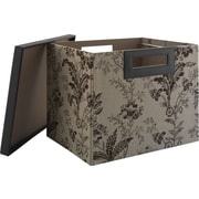 kathy ireland® by Bush® Large Bin/File, Floral Print Neutral/Chocolate