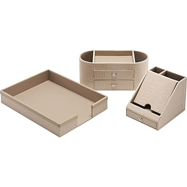 kathy ireland by Bush Desktop Storage, Croc-Beige Leather, 3/pack