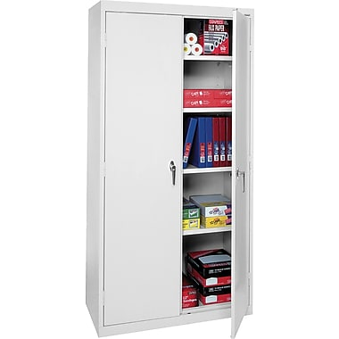 Sandusky Deluxe Steel Welded Storage Cabinet, 72in.H x 36in.W x 18in.D, Light Gray