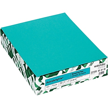 Wausau Papers® Astrobrights® 21855/22109 Card Stock, 8 1/2in.(W) x 11in.(L), Terrestrial Teal