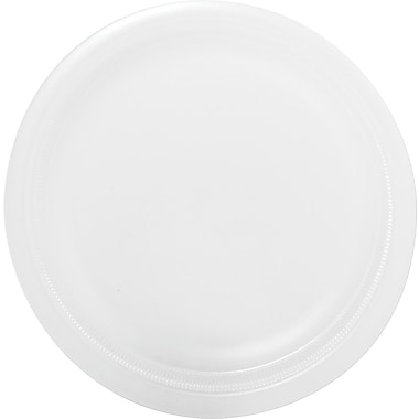 Solo® Laminated Round Mediumweight Foam Plate, 9in.(Dia), White, 500/Pack