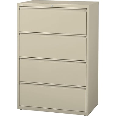 Hirsh HL10000 Series Lateral File Cabinet, 4-Drawer, Putty