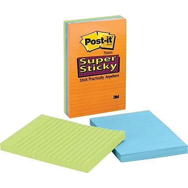 Post-it® 4in. x 6in. Line-Ruled Neon Notes, 3 Pads/Pack