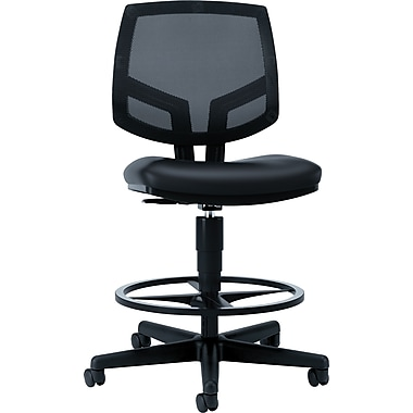 HON Volt Mesh Back Task/Drafting Stool, Black Leather