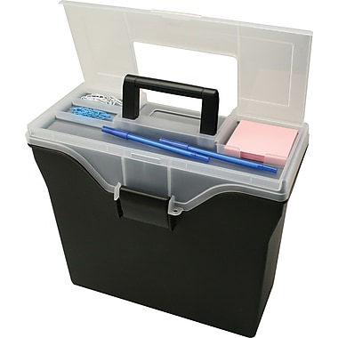 Staples Letter Size Portable File Box with Organizer Top, Black