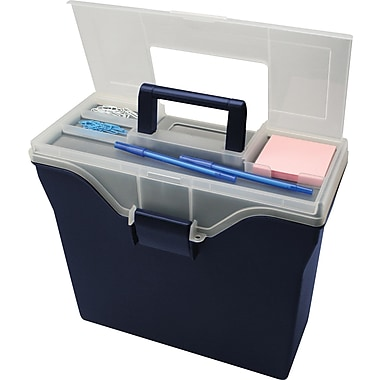 Staples Letter Size Portable File Box with Organizer Top, Navy