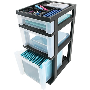Iris 3-Drawer Medium Filing Cart with Organizer Top