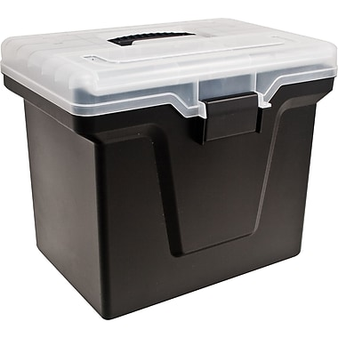 Staples Handy File Box with Organizer Top, Black