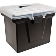 Staples® Handy File Box with Organizer Top, Black (110970)