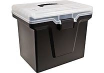 Staples Handy File Box with Organizer Top, Black (110970)