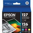 Epson 127/126 Extra High Yield Black and High Yield Color C/M/Y Ink Cartridges (T127120-BCS), Combo 4/Pack
