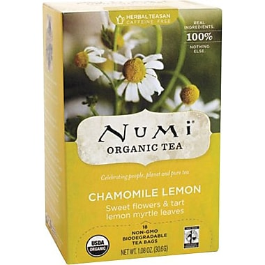 Numi® Chamomile Lemon Organic Herbal Teasan, Caffeine Free, 18 Tea Bags/Box