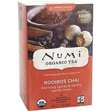 Numi® Rooibos Chai Organic Herbal Teasan, Caffeine Free, 18 Tea Bags/Box