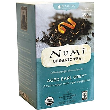 Numi® Aged Earl Grey Organic Black Tea, Higher Caffeine, 18 Tea Bags/Box