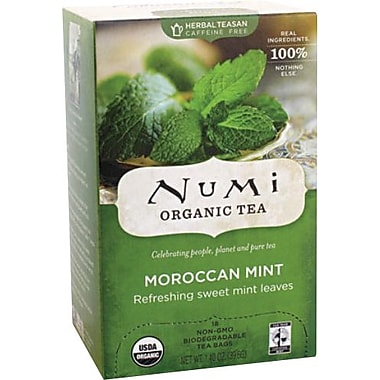 Numi® Moroccan Mint Organic Herbal Teasan, Caffeine Free, 18 Tea Bags/Box