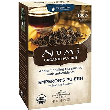 Numi® Emperor's Organic Pu-erh Tea, Higher Caffeine, 16 Tea Bags/Box