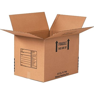 24in.(L) x 24in.(W) x 24in.(H) - Staples Deluxe Packing Shipping Box, 10/Bundle