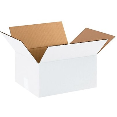 12in.(L) x 10in.(W) x 6in.(H) - Staples White Corrugated Shipping Box, 25/Bundle