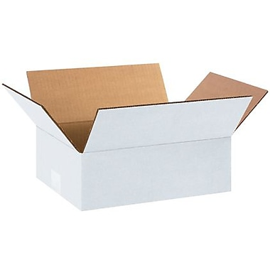 12in.(L) x 9in.(W) x 4in.(H) - Staples White Corrugated Shipping Box, 25/Bundle