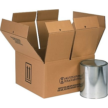 14 1/4in.(L) x 14 1/4in.(W) x 7 7/8in.(H) - Staples 4 - 1 Gallon Haz Mat   Shipping Box