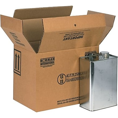 13 3/4in.(L) x 9in.(W) x 10 3/8in.(H) - Staples 4 - 1 Gallon F-Style Shipping Box, 20/Bundle