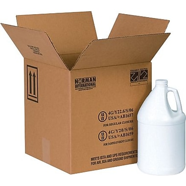 12 1/16in.(L) x 12 1/16in.(W) x 12 3/4in.(H) - Staples 4 - 1 Gallon Plastic Jug Haz Mat Shipping Box, 20/Bundle