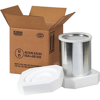 10 1/4in.(L) x 5 1/8in.(W) x 6 3/16in.(H) - Staples 2 - 1 Quart Foam Haz Mat Shipper Kit