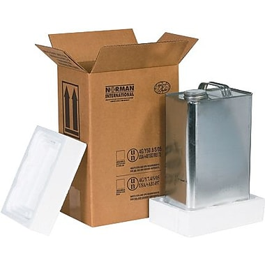 8 3/16in.(L) x 5 11/16in.(W) x 12 3/8in.(H) - Staples 1 - 1 Gallon F-Style Shipper Kit, 1 Kit