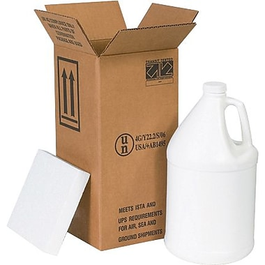 12 1/16in.(L) x 12 1/16in.(W) x 12 3/4in.(H) - Staples 4 - 1 Gallon Plastic Jug Shipper Kit, 1/Bundle