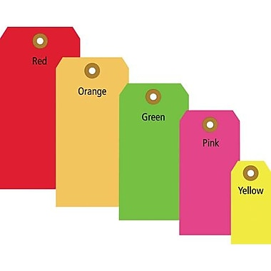 3 1/4in. x 1 5/8in. - Staples Fluorescent Yellow 13 Pt. Shipping Tag, 1000/Case