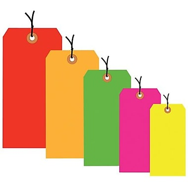 5 3/4in. x 2 7/8in. - Staples Fluorescent Yellow 13 Pt. Shipping Tag - Pre-Strung