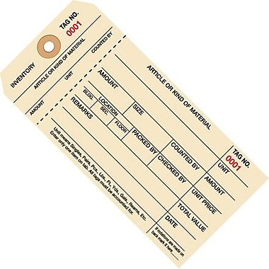 Staples - 6 1/4in. x 3 1/8in. - (7000-7999) Inventory Tags 1 Part Stub Style #8, 1000/Case