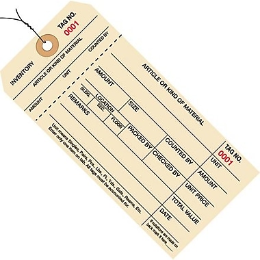 Staples - 6 1/4in. x 3 1/8in. - (0001-0999) Inventory Tags 1 Part Stub Style #8 - Pre-Wired, 1000/Case
