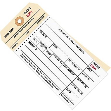 Staples - 6 1/4in. x 3 1/8in. - (0001-0499) Inventory Tag 2 Part Carbonless Stub Style #8, 500/Case