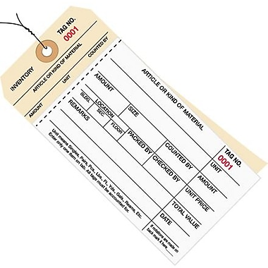 Staples - 6 1/4in. x 3 1/8in. - (1500-1999) Inventory Tag 2 Part Carbonless Stub Style #8 - Pre-Wired, 500/Case