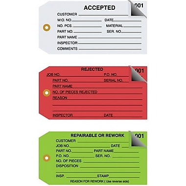 Staples - 4 3/4in. x 2 3/8in. - in.Rejectedin. Inspection Tag 2 Part - Numbered 001 - 499, 500/Case