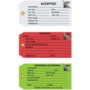 "Staples 2 Part Inspection Tags, 4 3/4"" x 2 3/8"""
