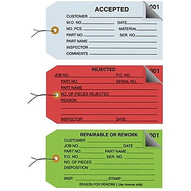 Staples - 4 3/4in. x 2 3/8in. - in.Acceptedin. Inspection Tag 2 Part - Numbered 001 - 499 - Pre-Wired