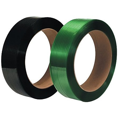 5/8in. x 2200' - 16in. x 3in. Core - Staples Green Polyester Strapping - Smooth, 2/Pack