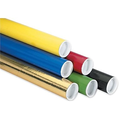 3in. x 12in. - Staples Yellow Mailing Tubes with Cap