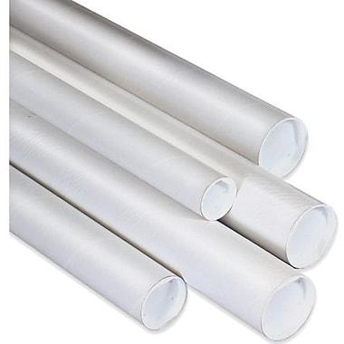 4in. x 42in. - Staples White Mailing Tubes with Cap, 15/Case
