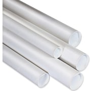 "4"" x 26"" - Staples White Mailing Tubes with Cap, 15/Case"